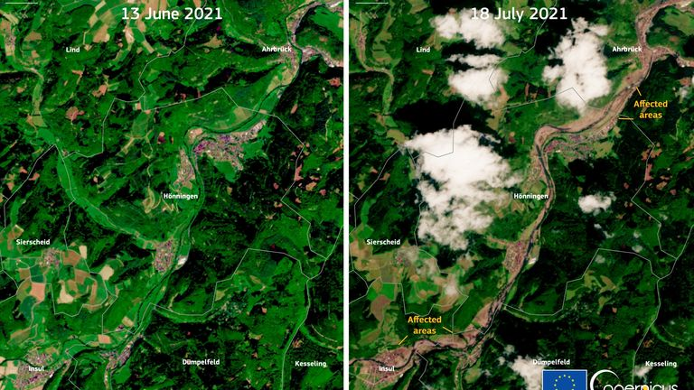 Before and after images show devastation caused by Germany floods