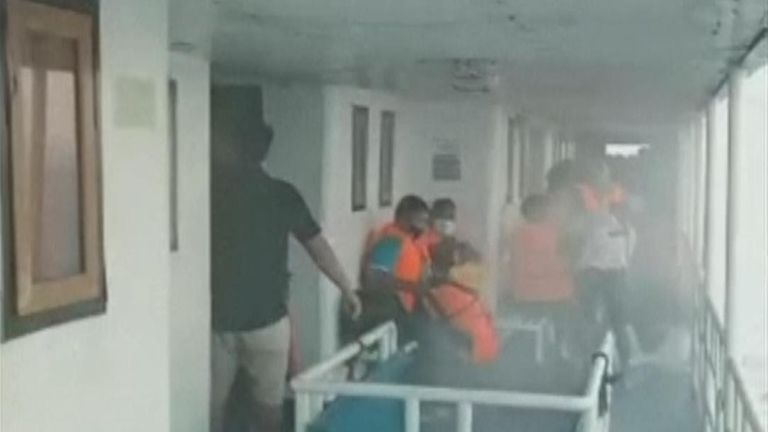 Nearly 200 passengers and crew saved from the sea after Indonesian ferry fire